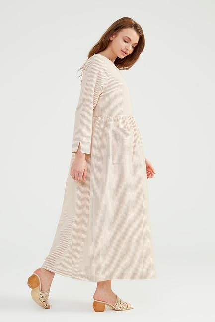 Bej Doğal Kumaşlı Gofi Elbise - SS02 - Thumbnail