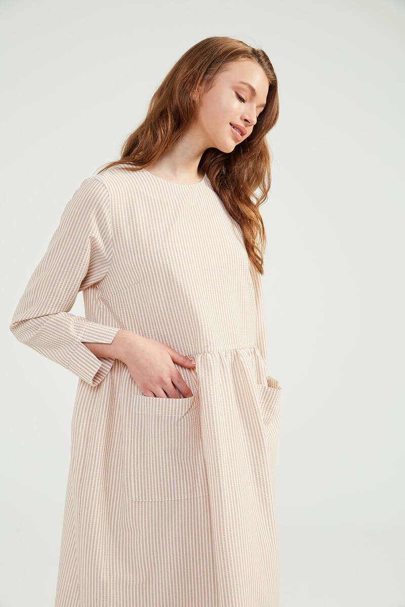 Bej Doğal Kumaşlı Gofi Elbise - SS02