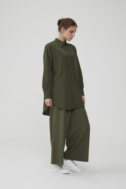 - Haki Doğal Kumaşlı Gömlek & Pantolon Takım
