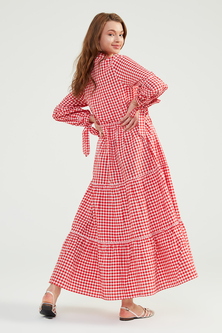 Kırmızı Doğal Kumaşlı Pöti Elbise - SS05 - Thumbnail