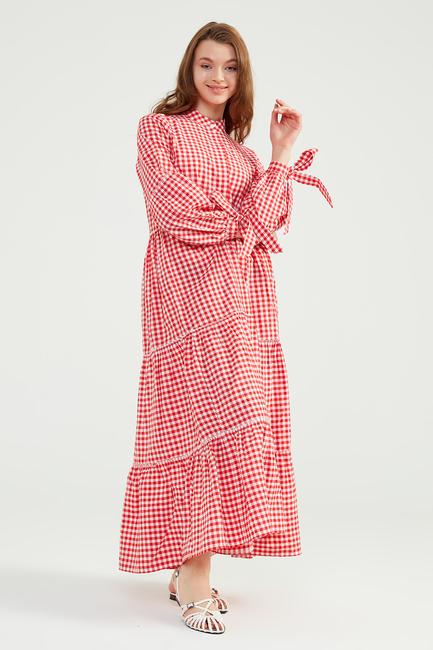 - Kırmızı Doğal Kumaşlı Pöti Elbise - SS05