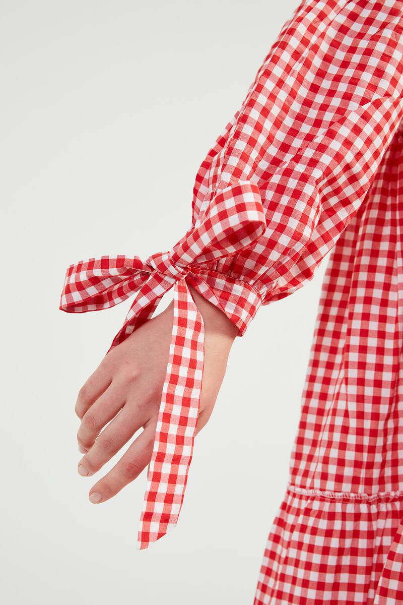 Kırmızı Doğal Kumaşlı Pöti Elbise - SS05