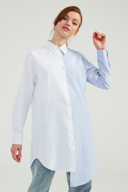 - Mavi Çizgili Doğal Kumaşlı Block Gömlek Tunik - SS13