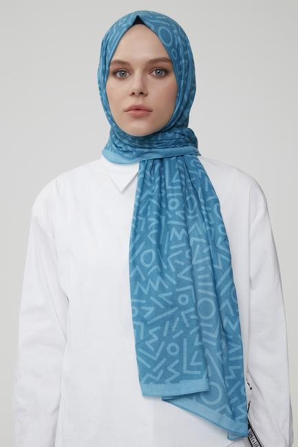 - Mavi Karışık Desenli Pamuklu Şal