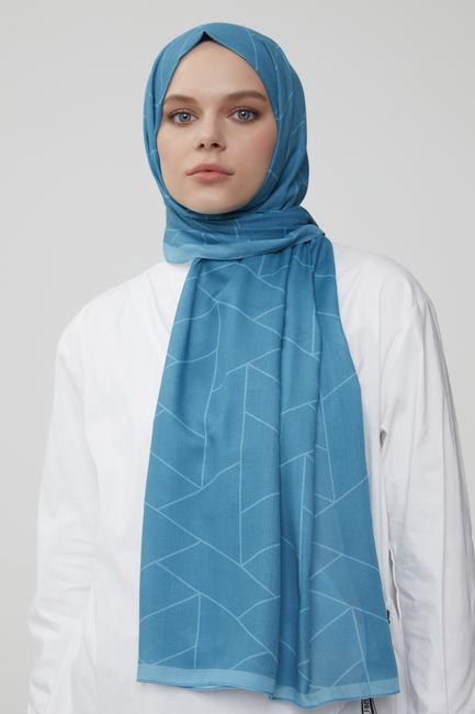 - Mavi Prizma Desenli Pamuklu Şal