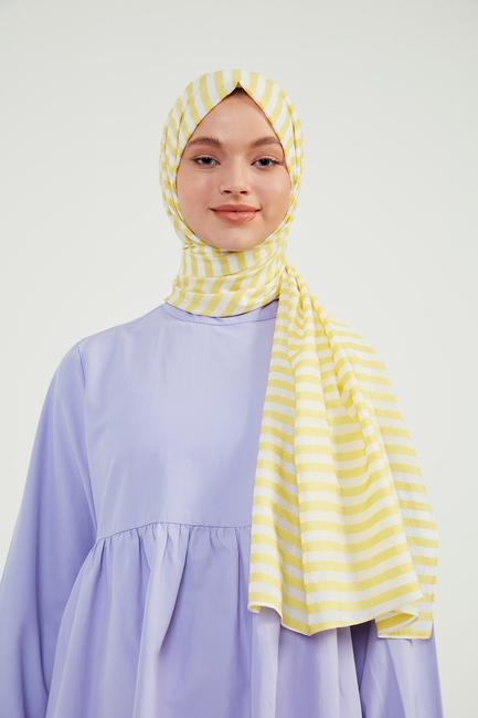 - Sarı Çizgili Exclusive Şal - CV01