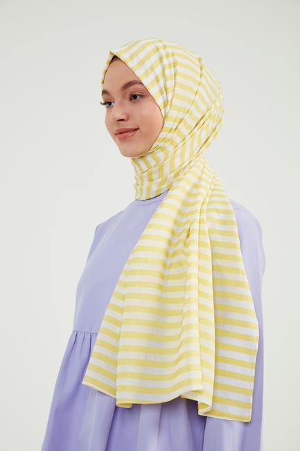 Sarı Çizgili Exclusive Şal - CV01 - Thumbnail