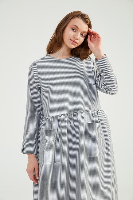 - Siyah Doğal Kumaşlı Gofi Elbise - SS04