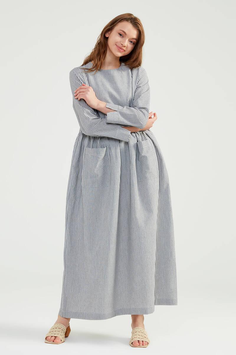 Siyah Doğal Kumaşlı Gofi Elbise - SS04