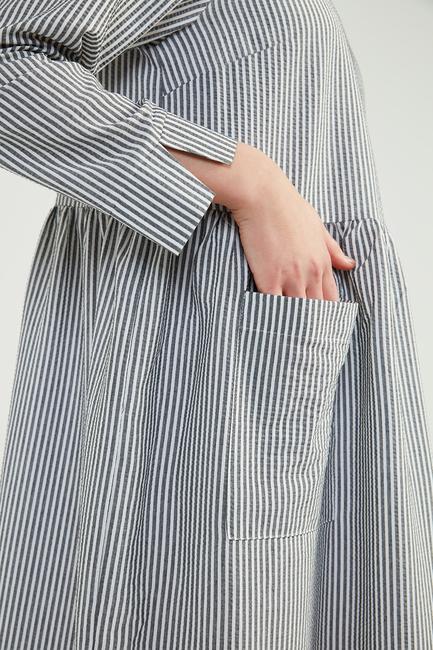 Siyah Doğal Kumaşlı Gofi Elbise - SS04 - Thumbnail